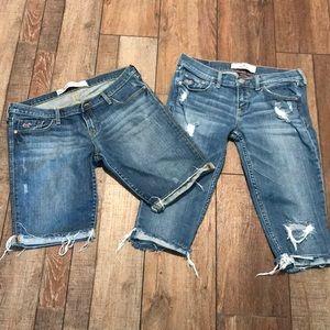 Hollister jr sz 5 two pair bundle jean shorts euc